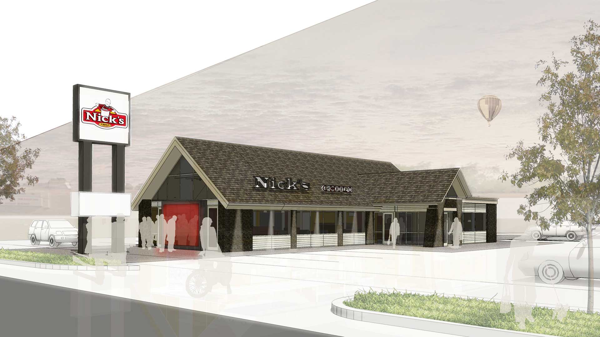 Nick's Chili Parlor Family Restaurant- Exterior Rendering - HAUS Architecture, Christopher Short, Indianapolis Architect