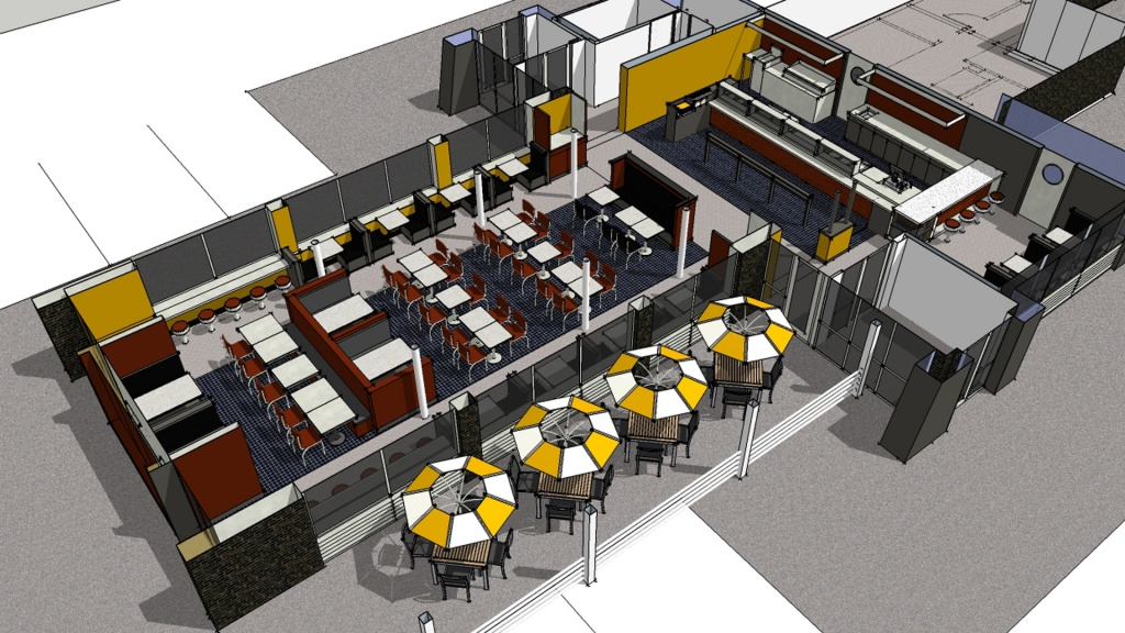 Nick's Chili Parlor Family Restaurant- 3D Plan - HAUS Architecture, Christopher Short, Indianapolis Architect