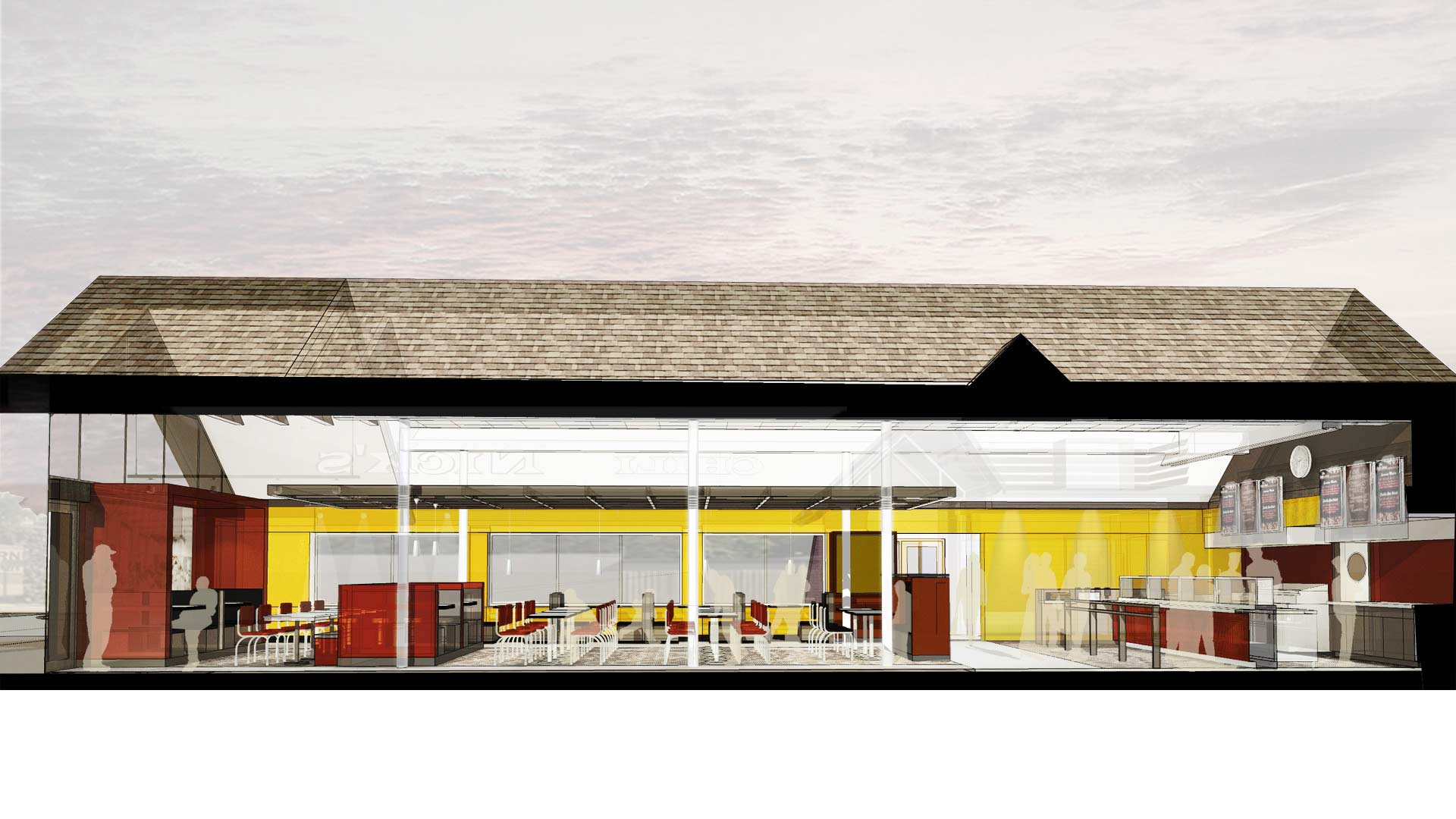 Nick's Chili Parlor Family Restaurant- Design Process Section Study - HAUS Architecture, Christopher Short, Indianapolis Architect