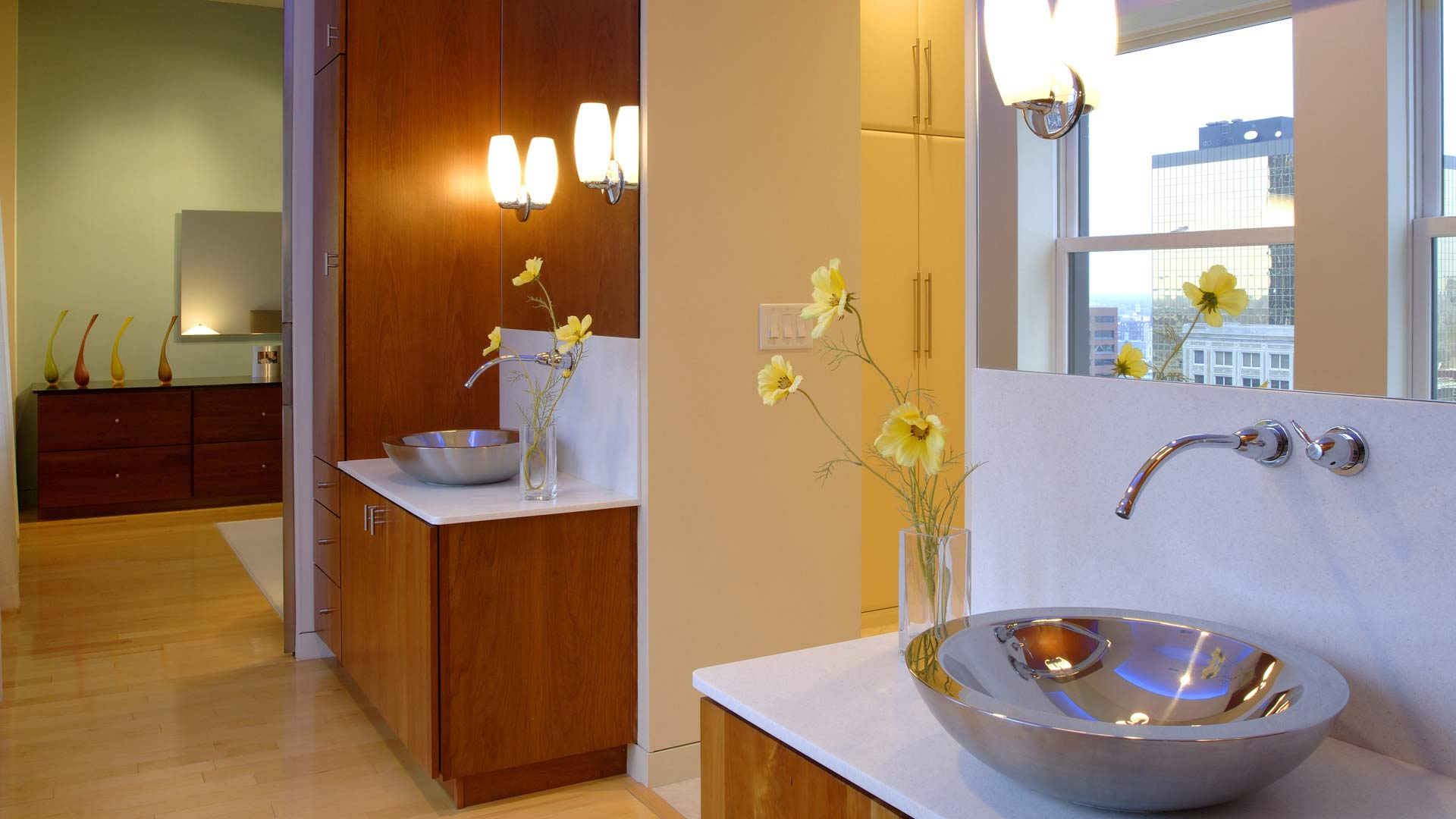 Downtown Urban Modern Penthouse - Master Bathroom Tandem Vanities - HAUS Architecture, Christopher Short, Indianapolis Architect