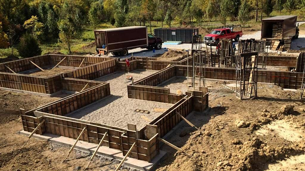 Foundations Underway - New Modern House Ditch Road - Carmel, IN - HAUS | Architecture For Modern Lifestyles - Christopher Short, Indianapolis Architect