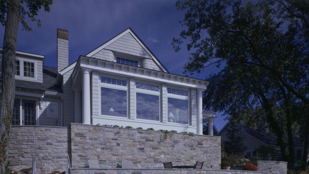 Nantucket Bay Shingle Style - Lakefront Facade - HAUS Architecture, Christopher Short, Indianapolis Architect