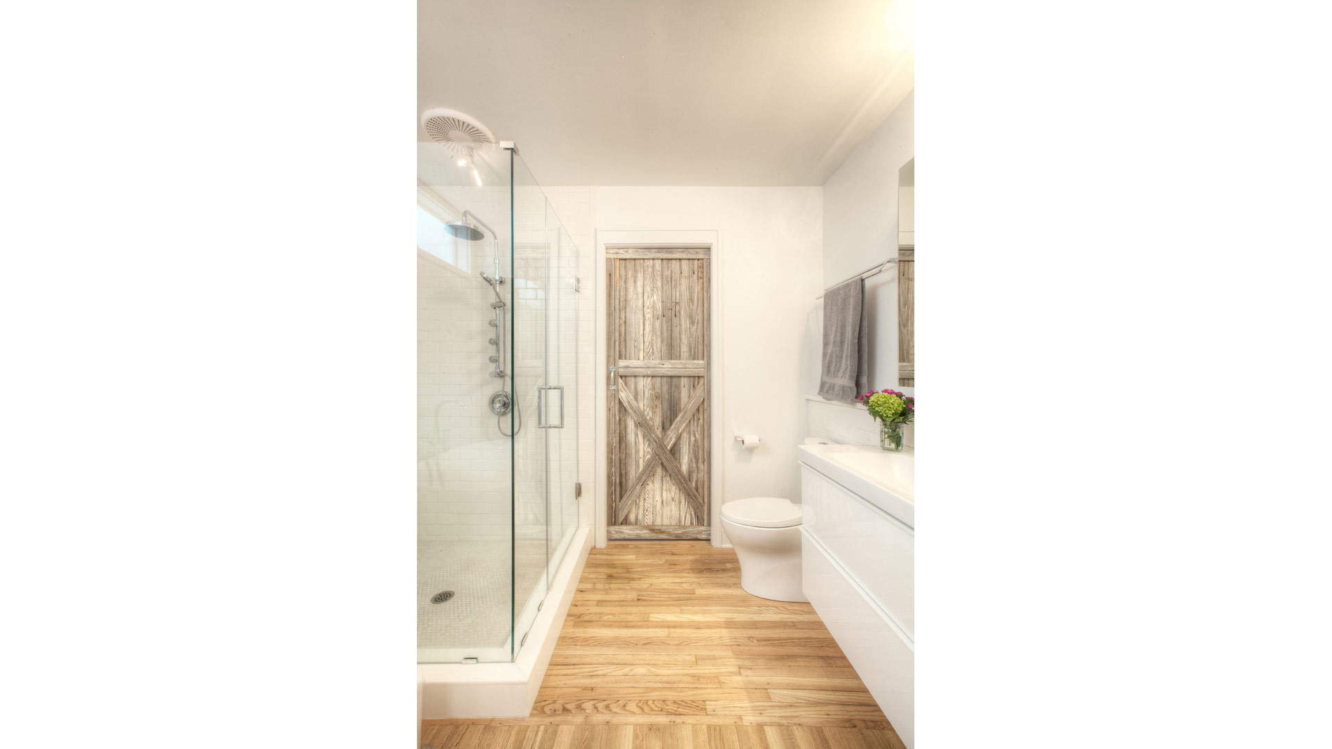 Broad Ripple Bungalow - Master Spa + Closet Salvaged Reclaimed Wood Doors - HAUS Architecture, WERK Building Modern, Christopher Short, Indianapolis Architect