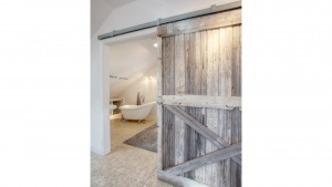 Broad Ripple Bungalow - Guest Loft, Barn Door, Reclaimed - HAUS Architecture, WERK Building Modern, Christopher Short, Indianapolis Architect