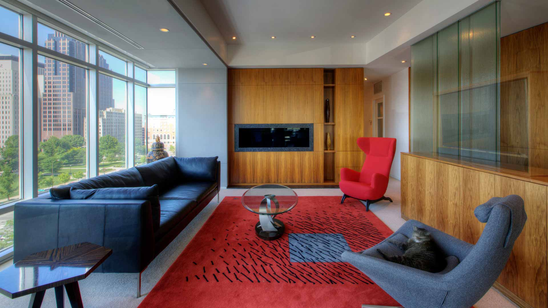 Urban Mid Rise Flat - Main Living Space - HAUS Architecture, Christopher Short, Indianapolis Architect