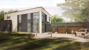 Front Elevation Rendering -Minimalist Modern House - Indian Head Park - HAUS Architecture, Christopher Short, Indianapolis Architect