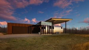 New Modern House 1 - Exterior Rendering - HAUS Architecture, WERK Building Modern, Christopher Short, Indianapolis Architect