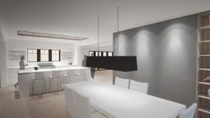 Butler Tarkington Modern Tudor - Modernized Kitchen Design Rendering View - HAUS Architecture, Christopher Short, Indianapolis Architect
