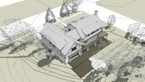 Butler Tarkington Modern Tudor - 3D Rendering View, HAUS Architecture, WERK Building Modern