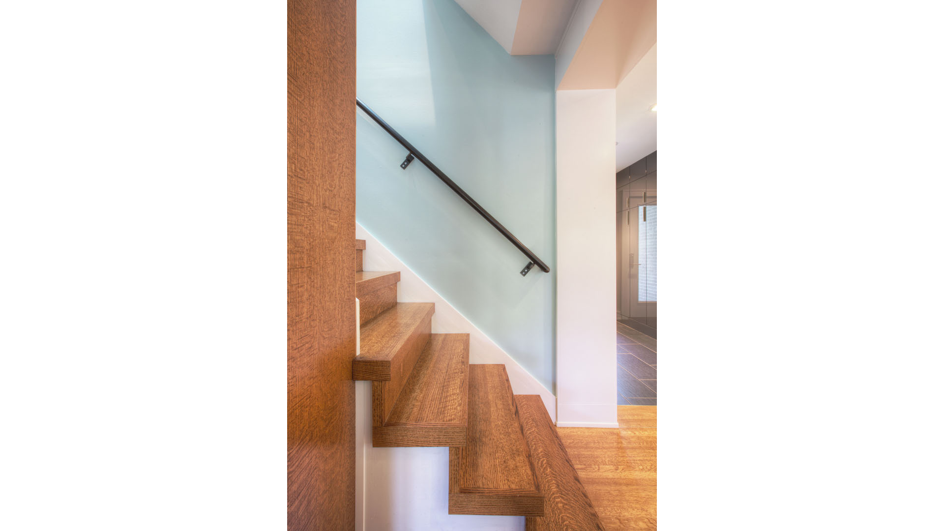 Classic Butler Tarkington Modern Tudor Renovation, Stair Detail Oak Steel Handrail, HAUS Architecture, WERK Building Modern, Christopher Short, Indianapolis Architect
