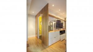 Butler Tarkington Modern Tudor - Custom Cabinetry + Powder Room Entry - HAUS Architecture, WERK Building Modern, Christopher Short, Indianapolis Architect