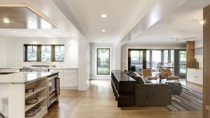 Classic Butler Tarkington Modern Tudor Renovation, Open Concept Plan Kitchen Living Room, HAUS Architecture, WERK Building Modern, Christopher Short, Indianapolis Architect