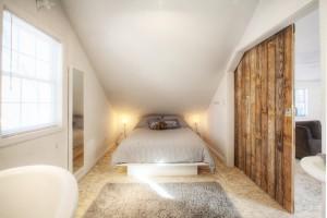 Broad Ripple Bungalow - Guest Loft Barn Door - HAUS Architecture, WERK Building Modern, Christopher Short, Indianapolis Architect