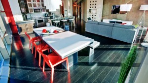 Urban Industrial Interior - Living Space Sunset Concrete Dining Table and Bench - HAUS Architecture, WERK Building Modern