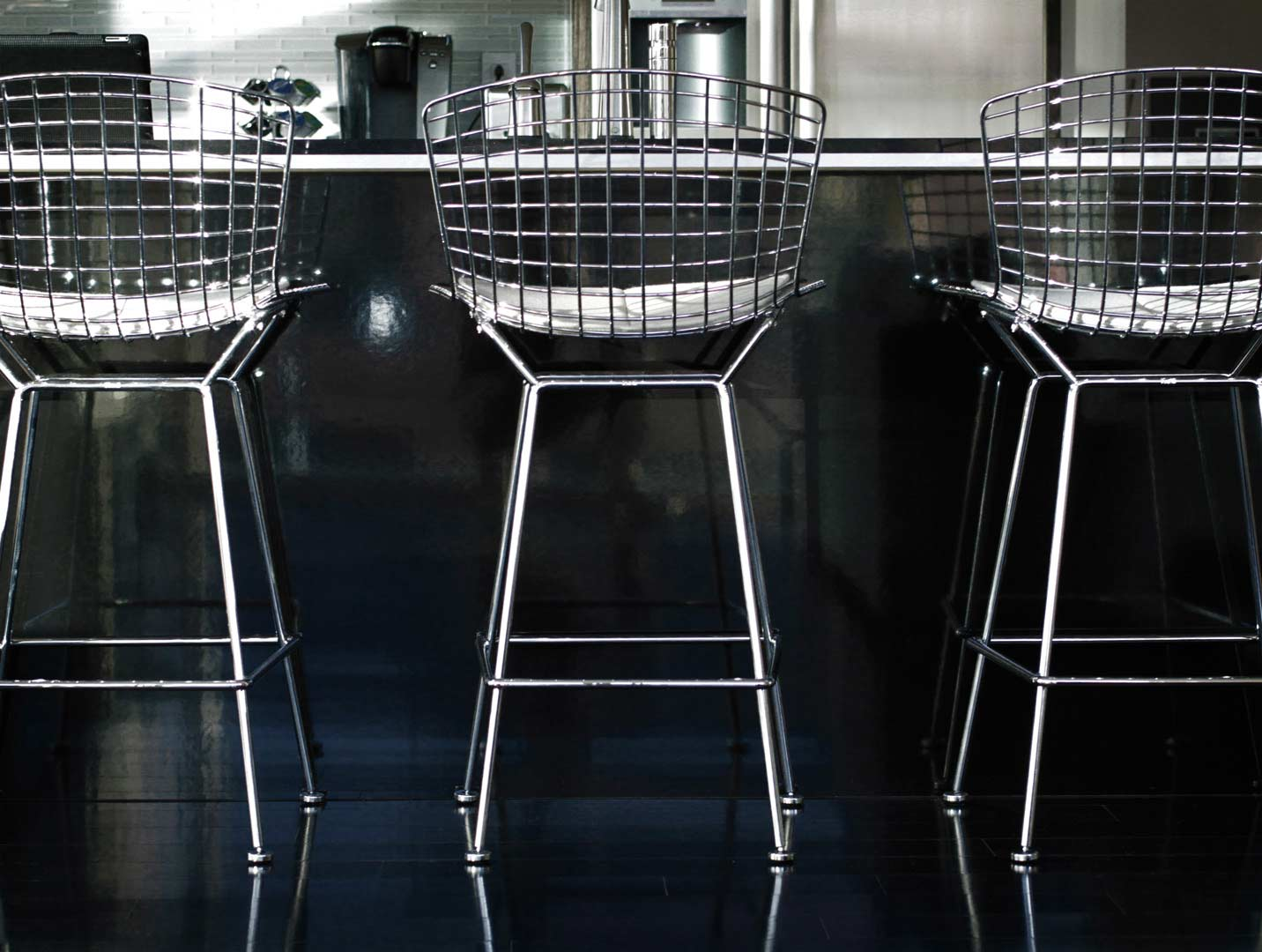 Urban Industrial Interior - Bertoia Chairs at Bar - HAUS Architecture, WERK Building Modern