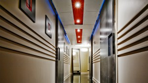 Urban Industrial Interior - Entry Hallway Steel Barn Doors and Industrial Details - HAUS Architecture, WERK Building Modern