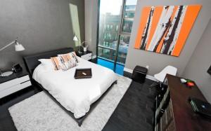 Urban Industrial Interior - Downtown Master Bedroom with Downtown Skyline Views - HAUS Architecture, WERK Building Modern