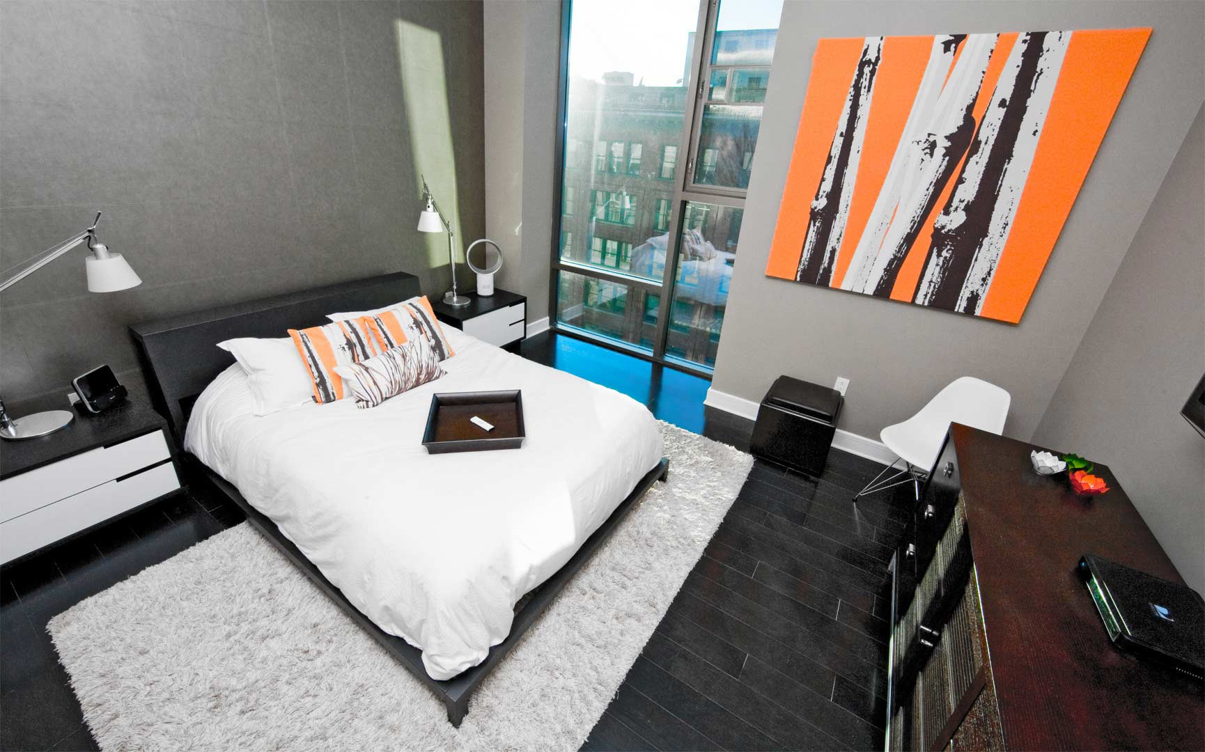 Urban Industrial Interior - Downtown Master Bedroom with Downtown Skyline Views - HAUS Architecture, WERK Building Modern