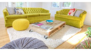 Broad Ripple Bungalow Renovation, Green Retro Sofas Pallet Coffee Table Poufs, HAUS Architecture, Christopher Short, Indianapolis Architect