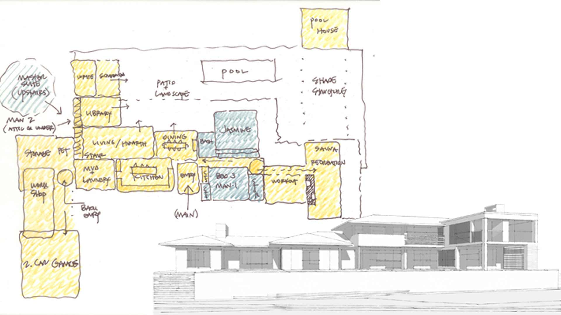 Midcentury Modern Renovation 3 - Concept Sketches - HAUS Architecture, Christopher Short, Indianapolis Architect