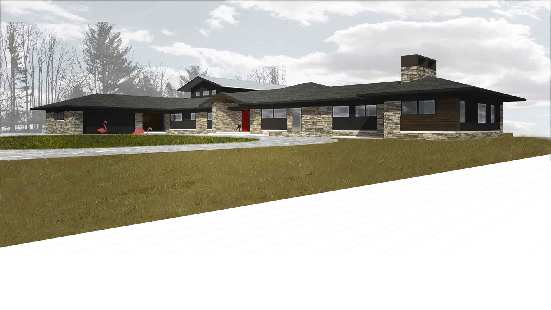 Midcentury Modern Renovation 3 - Exterior Rendering - HAUS Architecture, Christopher Short, Indianapolis Architect