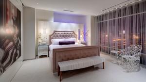Adagio Penthouse Interior, Master Bedroom View Evening, HAUS Architecture, Christopher Short, Indianapolis Architect