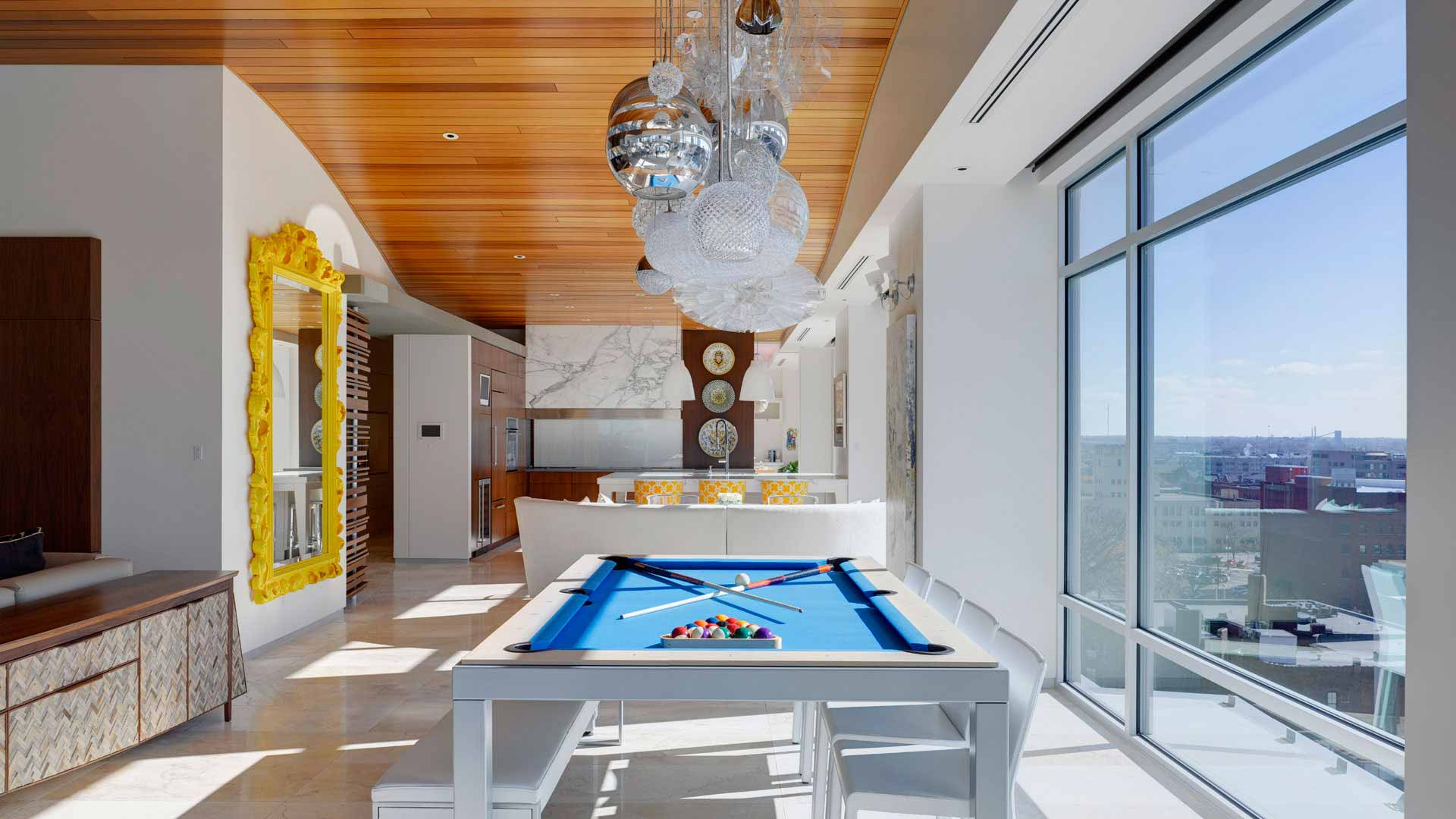 Adagio Penthouse Interior - Open Concept Dining - HAUS Architecture, Christopher Short, Indianapolis Architect