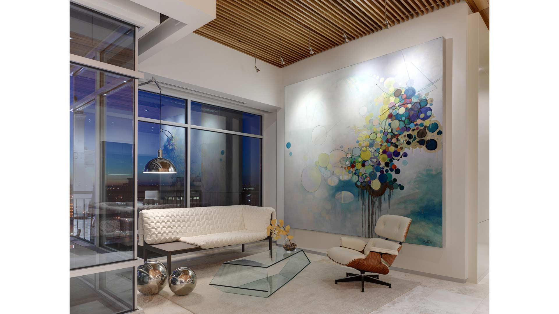 Adagio Penthouse Interior - Massive Art Wall Detail - HAUS Architecture, Christopher Short, Indianapolis Architect