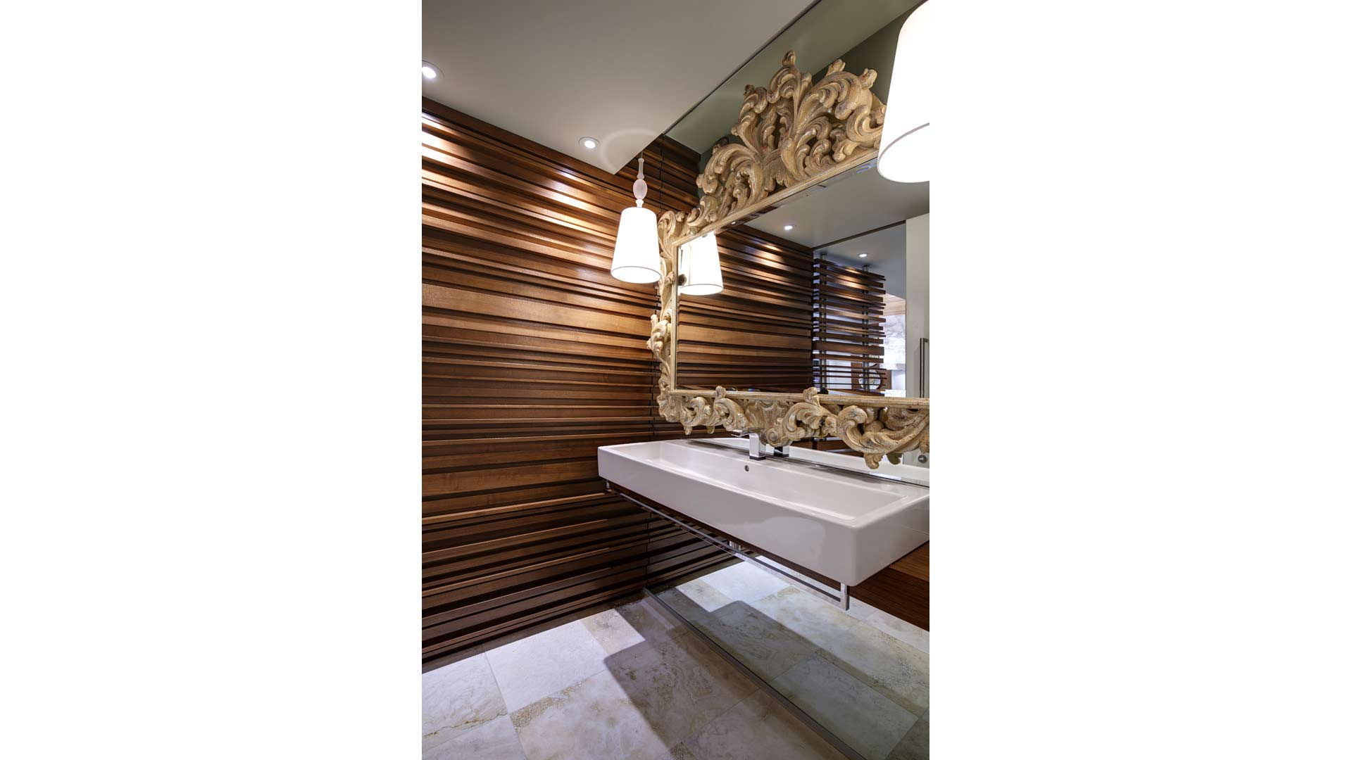 Adagio Penthouse Interior - Powder Room - Walnut Wall Detail - HAUS Architecture, Christopher Short, Indianapolis Architect