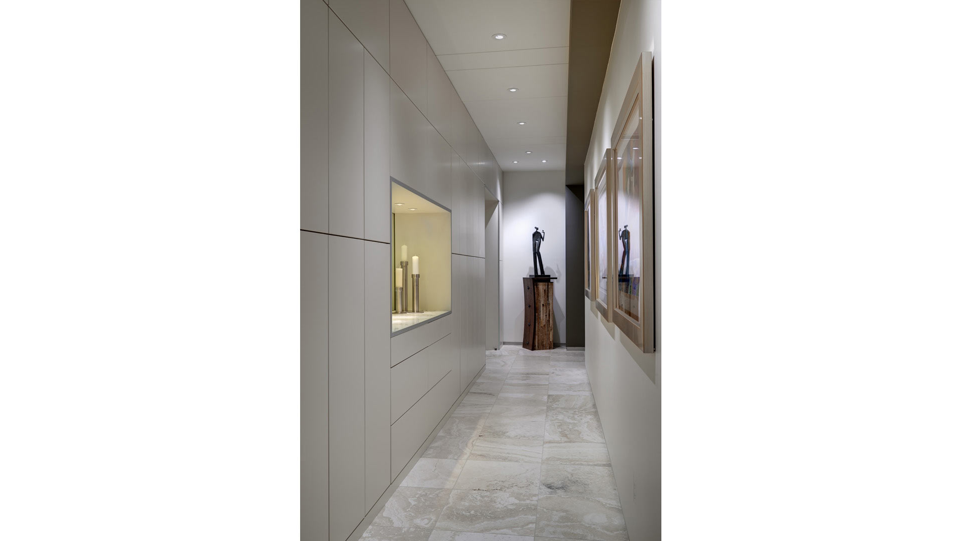 Adagio Penthouse Interior - Sculpture Gallery Hallway - HAUS Architecture, Christopher Short, Indianapolis Architect