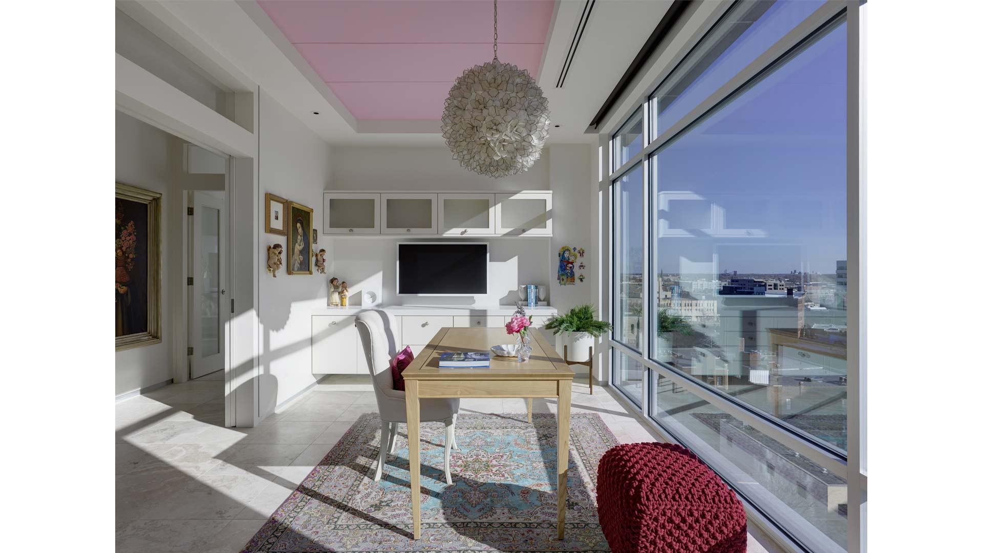 Adagio Penthouse Interior - Feminine Home Office - HAUS Architecture, Christopher Short, Indianapolis Architect