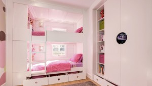 Classic Irvington Tudor Renovation, Girl Bunk Beds Custom Cubbies Pink Drawers Ladder, HAUS Architecture, WERK Building Modern, Christopher Short, Indianapolis Architect