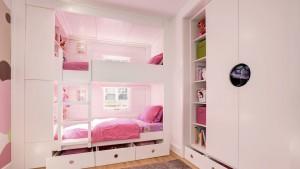 Classic Irvington Tudor Renovation, Girl Bunk Beds Custom Cubbies Pink Drawers Ladder, HAUS Architecture, WERK Building Modern, Christopher Short, Indianapolis Architect