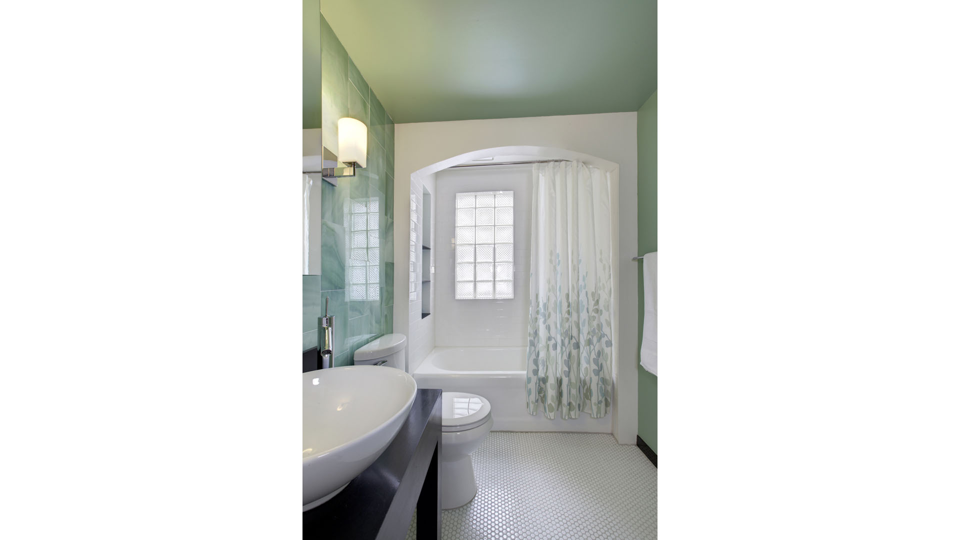 Classic Irvington Tudor Renovation, Retro Green Tile Bathroom Arched Tub Surround, HAUS Architecture, WERK Building Modern, Christopher Short, Indianapolis Architect