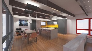 Rendering - Midcentury Modern Kitchen Renovation - HAUS Architecture, WERK Building Modern, Christopher Short, Indianapolis Architect