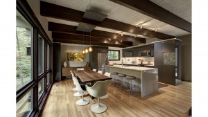 Exposed beams, oak flooring, IKEA kitchen cabinets, waterfall top island, floor to ceiling windows - Mid Mod Kitchen Renovation - Indianapolis, IN