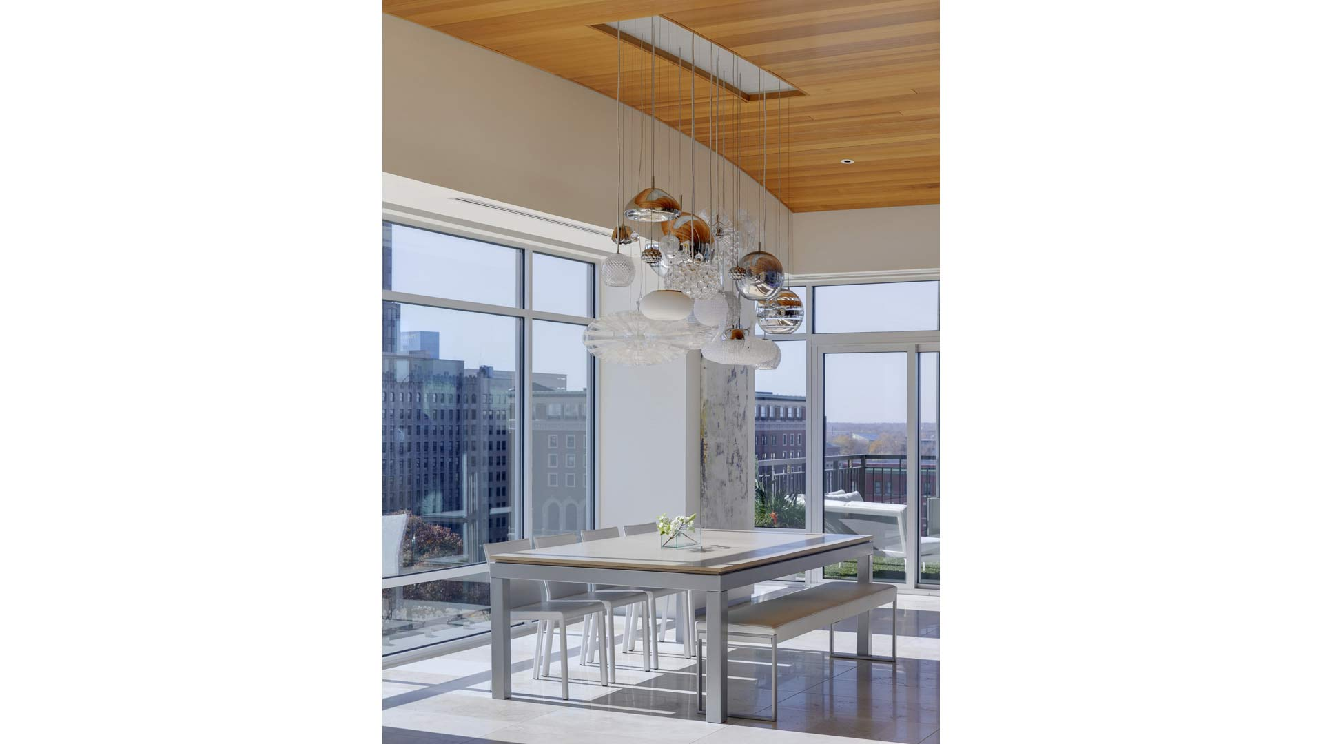 Adagio Penthouse Interior - Dining Room Pendant Light Constellation - HAUS Architecture, Christopher Short, Indianapolis Architect