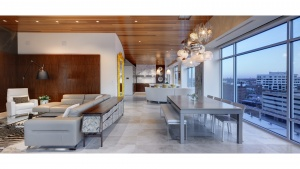 Adagio Penthouse Interior - Living + Dining View - HAUS Architecture, Christopher Short, Indianapolis Architect