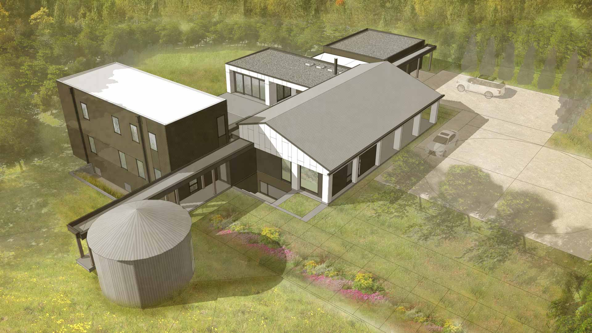 New Modern House Ditch - 3D Aerial View - HAUS Architecture, Christopher Short, Indianapolis Architect
