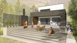Rear Elevation Rendering -Minimalist Modern House - Indian Head Park - HAUS Architecture, Christopher Short, Indianapolis Architect