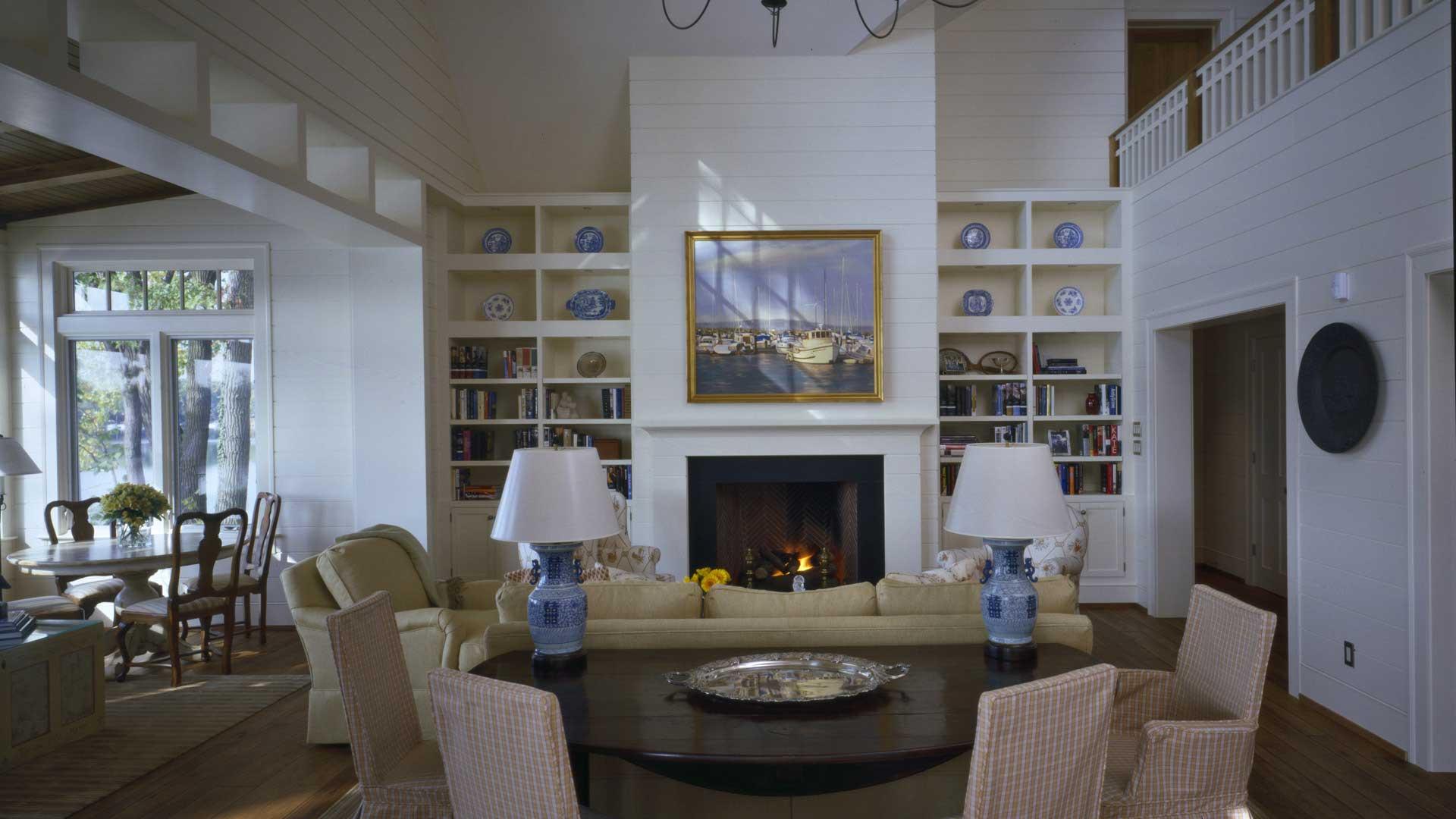 Nantucket Bay Shingle Style - Main Living Hidden TV - HAUS Architecture, Christopher Short, Indianapolis Architect
