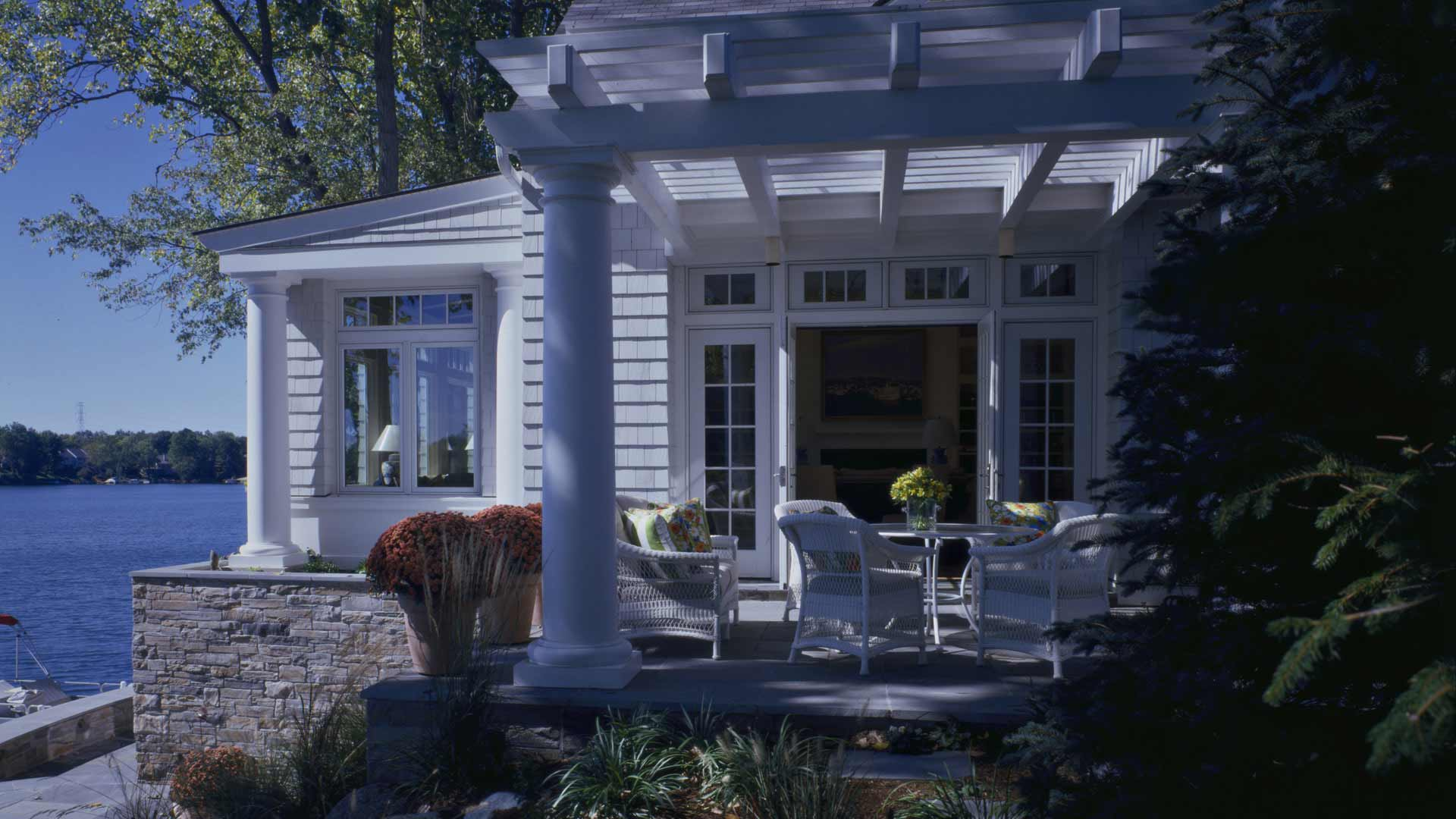 Nantucket Bay Shingle Style - East Covered Patio - HAUS Architecture, Christopher Short, Indianapolis Architect