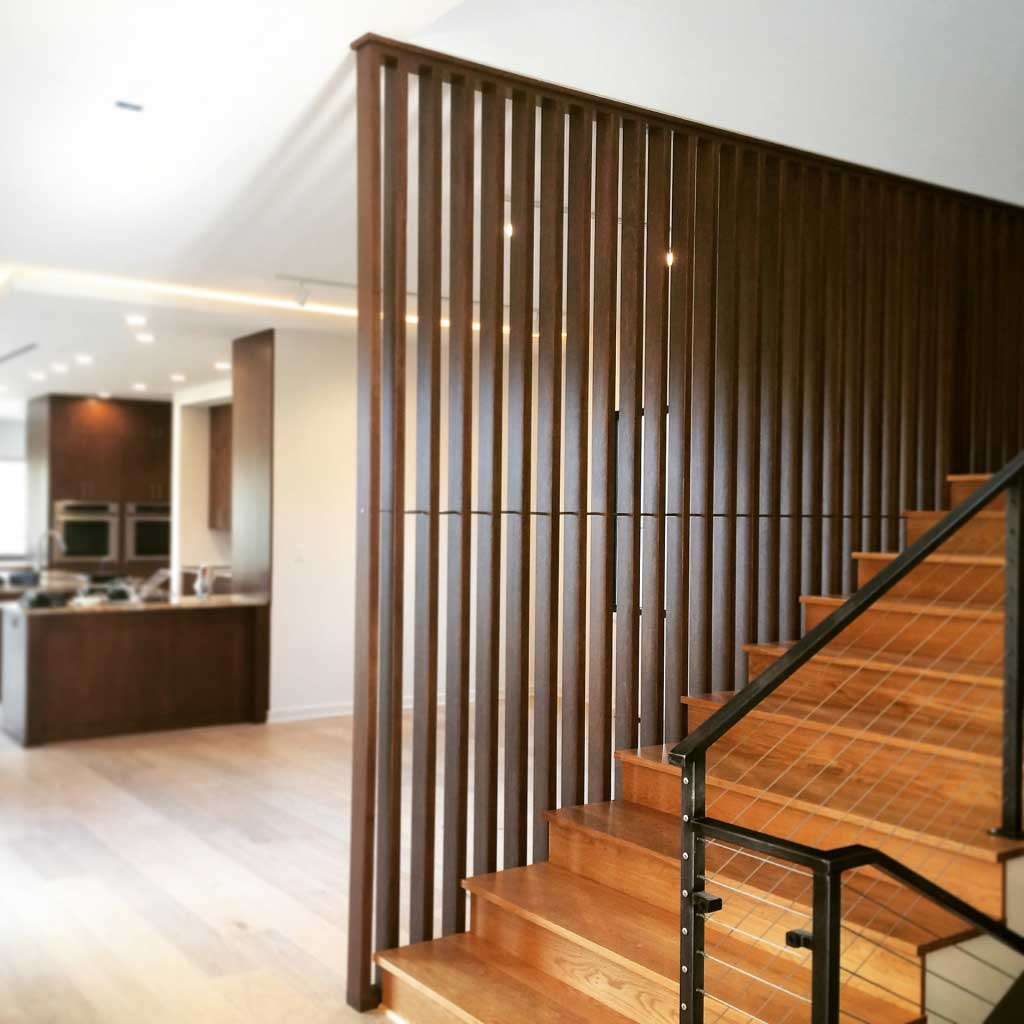 New Modern House Treesdale - Stair Screenwall Progress - HAUS Architecture, Christopher Short, Indianapolis Architect