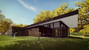 Midcentury Modern Renovation 2 - South Elevation Rendering - HAUS Architecture, Christopher Short, Indianapolis Architect