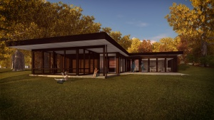 Midcentury Modern Renovation 2 - Rear Elevation Rendering - HAUS Architecture, Christopher Short, Indianapolis Architect