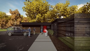 Midcentury Modern Renovation 2 - Entry Rendering - HAUS Architecture