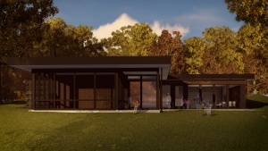 Midcentury Modern Renovation 2 - Rear Elevation Rendering - HAUS Architecture