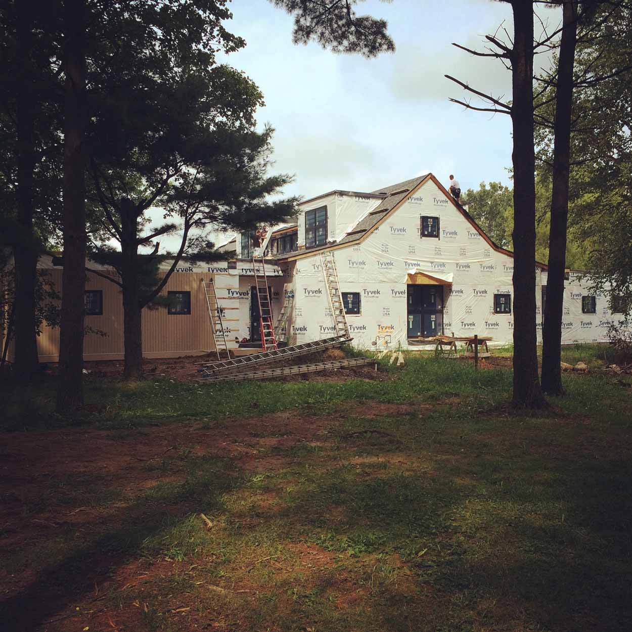 New Modern Farmhouse 3 - East Elevation Siding Underway - HAUS Architecture, Christopher Short, Indianapolis Architect