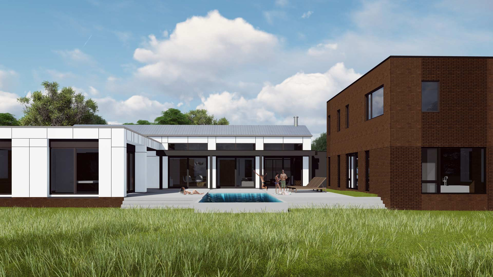 New Modern House Ditch - Courtyard View - HAUS Architecture, Christopher Short, Indianapolis Architect