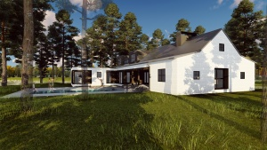 New Modern Farmhouse 3 - Exterior Rendering - HAUS Architecture, Christopher Short, Indianapolis Architect